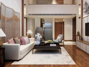 新中式风格木地板装修效果图 棕色地板装修图片