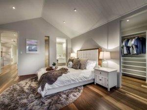 卧室木地板装修效果图  现代风卧室木地板图片