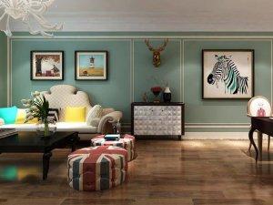 美式风格木地板装修效果图  客厅木地板图片