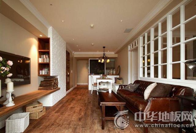 美式怀旧风格客厅木地板装修图片