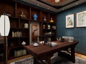 中式风格书房木地板装修效果图 书房地板装修图片