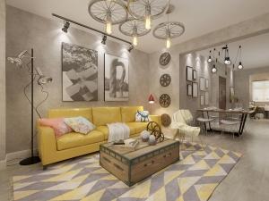 混搭风格灰色木地板装修效果图 灰色木地板铺装效果图