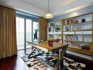 书房大气装红色木地板效果图 书房木地板铺装图片