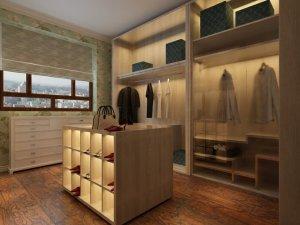 卧室衣帽间仿古木地板效果图 木地板铺装效果图