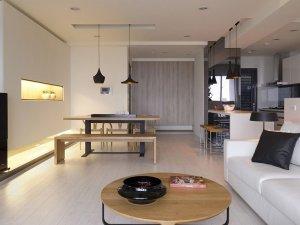 简约主义客厅实木地板效果图  白色实木地板效果图