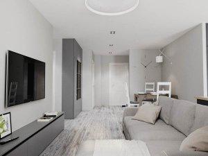 简约安逸灰色调公寓实木地板效果图   灰色地板效果图