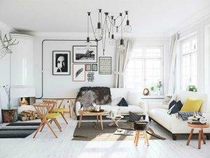 清新黑白风格实木地板家装案例  白橡木家装效果图