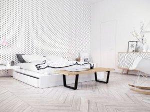 极简白风格卧室白色实木地板效果图