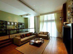 新中式风格客厅地板装修图片   深棕色木地板图片
