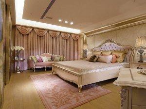 欧式风格豪华主卧木地板装修效果图   浅色木地板效果图