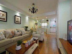 美式乡村风格文艺二居室棕色木地板装修效果图  绿色小清新