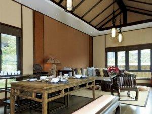 新中式餐厅灰色木地板效果图 实木地板图片