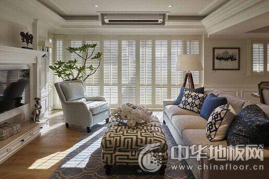 美式乡村客厅木地板装修效果图 光影错落