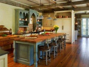 美式乡村风格厨房地板效果图 棕色实木地板图片