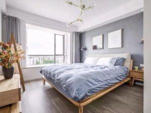 北欧风格卧室木地板效果图 灰色地板设计图片