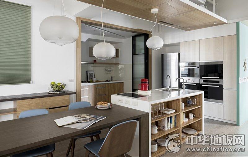 浅灰色地板装修效果图 全屋木质现代风亲子宅
