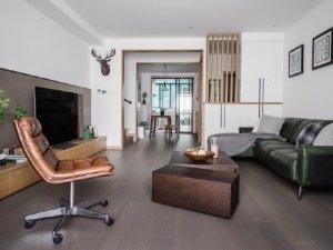深灰色木地板装修效果图 混搭风格风家居案例