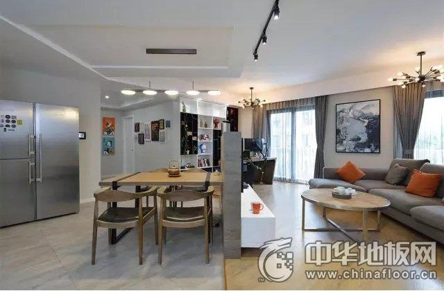 现代风木地板效果图 不规则客餐厅设计尽显舒适悠闲