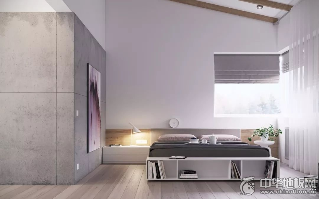 现代简约风木地板装修效果图 水泥灰+木色,太撩了!