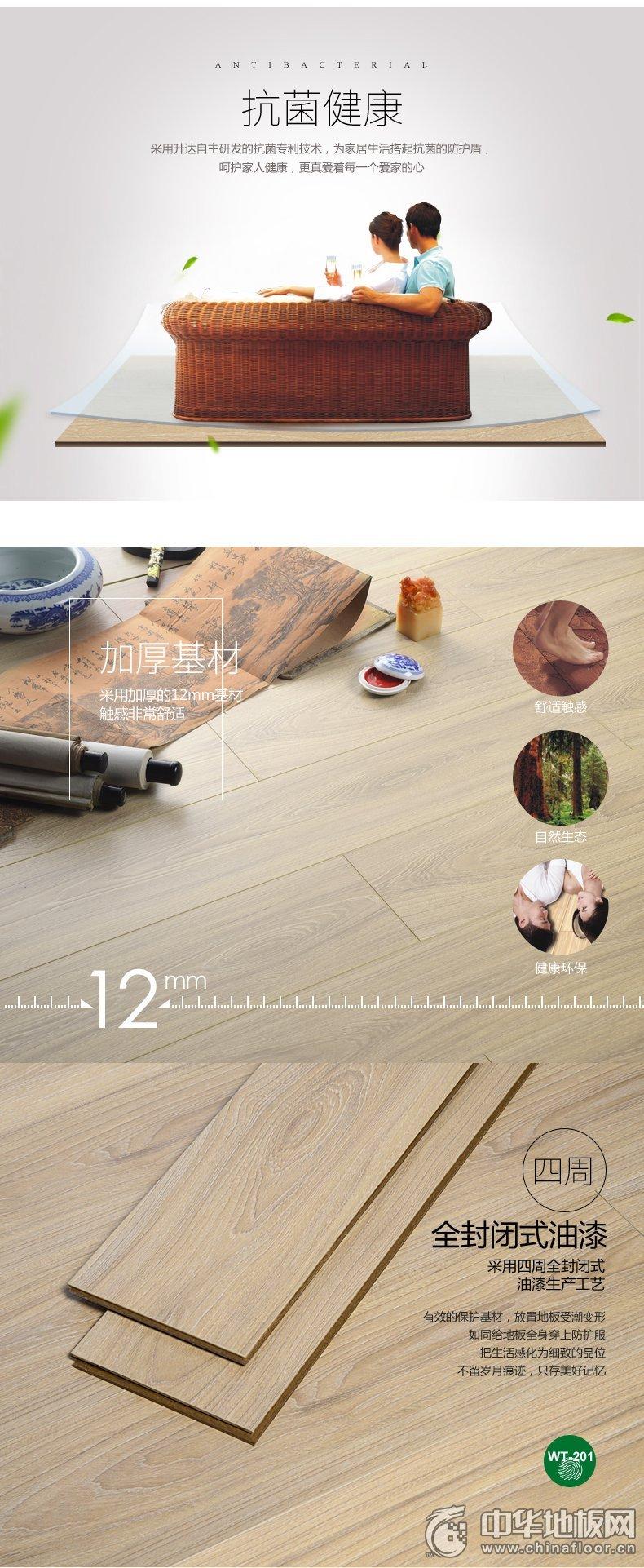 升达强化复合地板WT-201 12mm仿实木 工厂直销