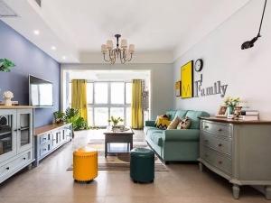 美式简约风木地板装修效果图 黄色木地板图片