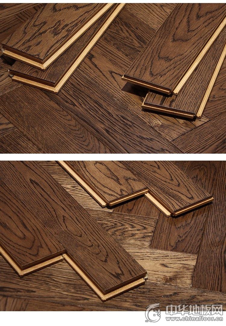 天格橡木纯实木地暖地板图片  仿古拉丝伯爵裸板效果图