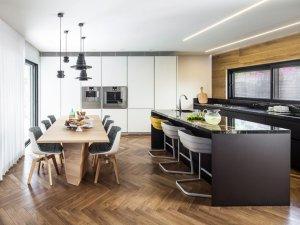 人字形厨房地板效果图大全 棕色美式地板装修效果图