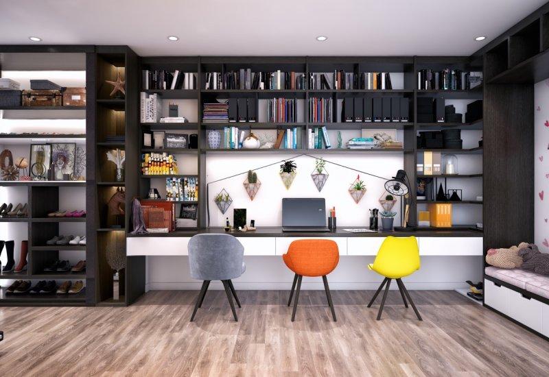 现代家庭办公室效果图大全 实木地板装饰效果图_3