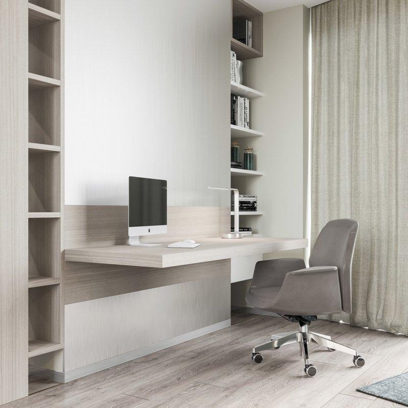 现代家庭办公室效果图大全 实木地板装饰效果图_10