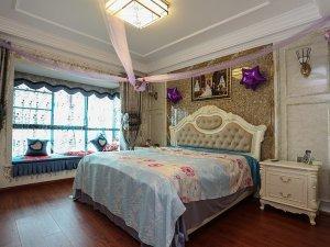 简欧主卧木地板颜色效果图 卧室深色地板装修效果图