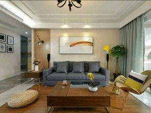 瓷砖木地板混搭客厅地板效果图 防水木质地板装修效果图