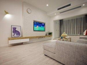 简约白色地板效果图 小户型客厅强化地板图片