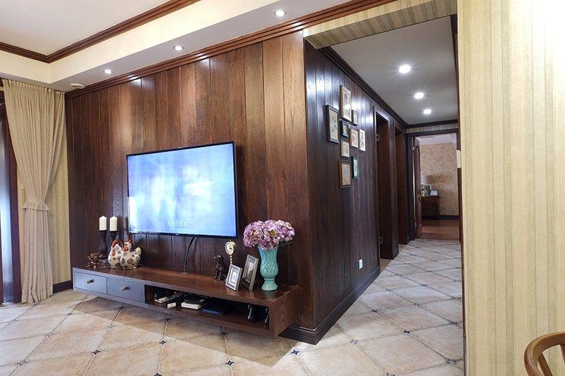 美式咖啡色地板效果图 100平阳台木地板效果图_6