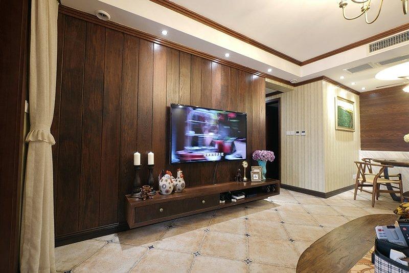 美式咖啡色地板效果图 100平阳台木地板效果图_3
