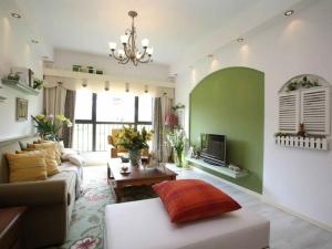 防水白色地板装修效果图 公寓客厅木地板装修效果图