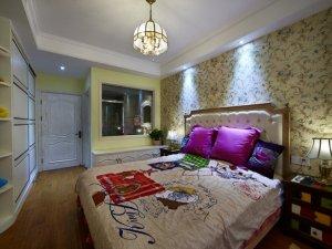 乡村风浅色地板装修效果图 卧室地板效果图家装
