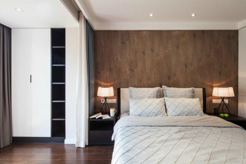 咖啡色木地板上墙效果图 现代风格装修效果图_11