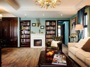 美式地板装修效果图 古典金丝柚木实木地板图片