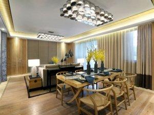 餐厅白色地板效果图 新中式地板装修图片
