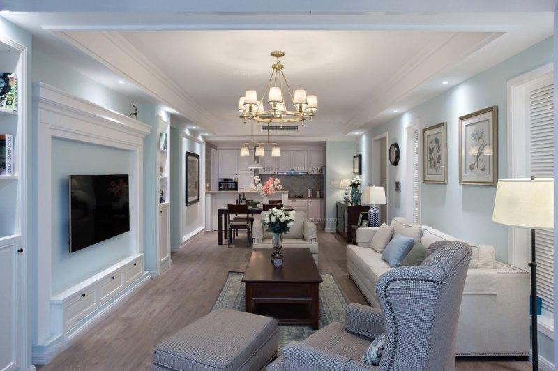 美式客厅地板效果图 暖灰色地板效果图_2