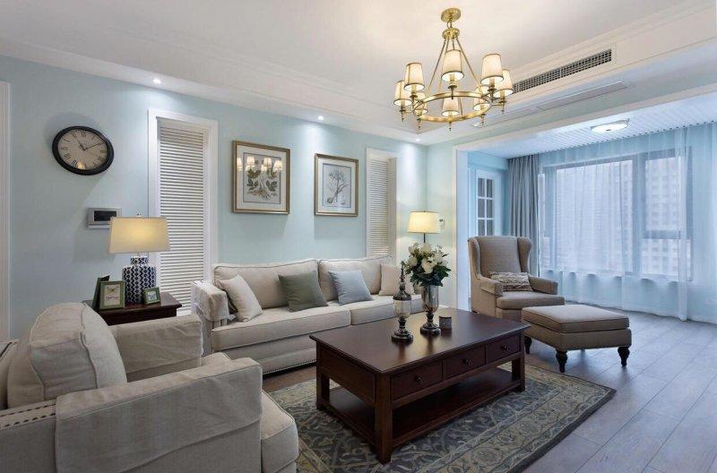 美式客厅地板效果图 暖灰色地板效果图_1