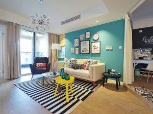混搭风浅色地板装修效果图 客厅地板效果图