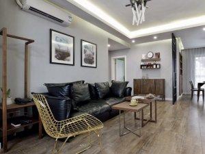 美式小户型地板装修效果图大全 做旧灰色地板效果图