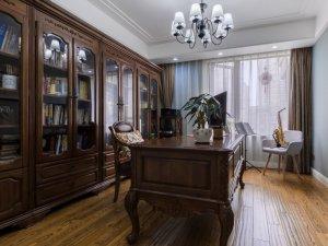 混搭简欧地板装修效果图 书房浅色地板装修效果图