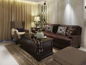 美式卧室地板装修效果图 咖啡色地板效果图