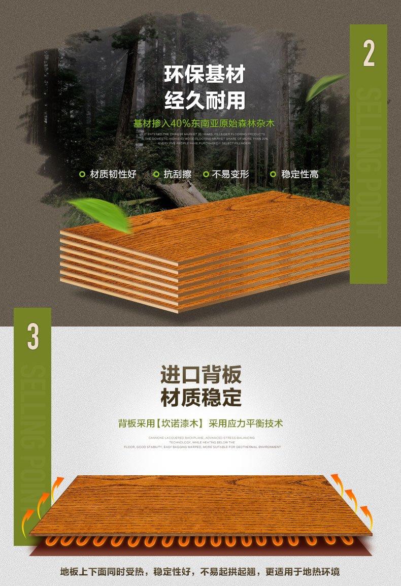 菲林格尔多层实木复合地板家装效果图 纯粹主义白蜡木K04