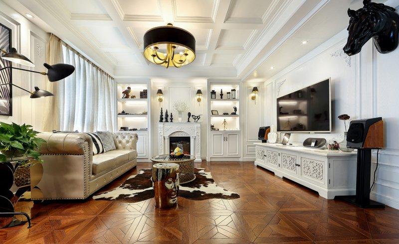 欧式客厅地板效果图 拼花深色地板装修效果图
