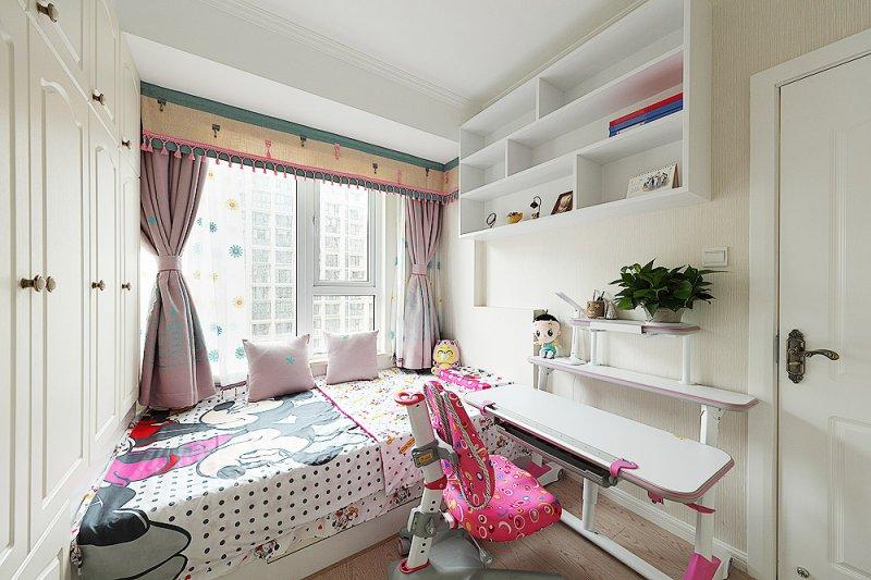 儿童房间白色地板效果图 美式地板装修效果图