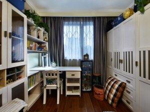 书房咖啡色地板效果图 美式地板装修效果图