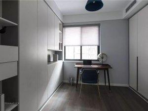 书房深灰色木地板装修效果图 原木风格装修效果图